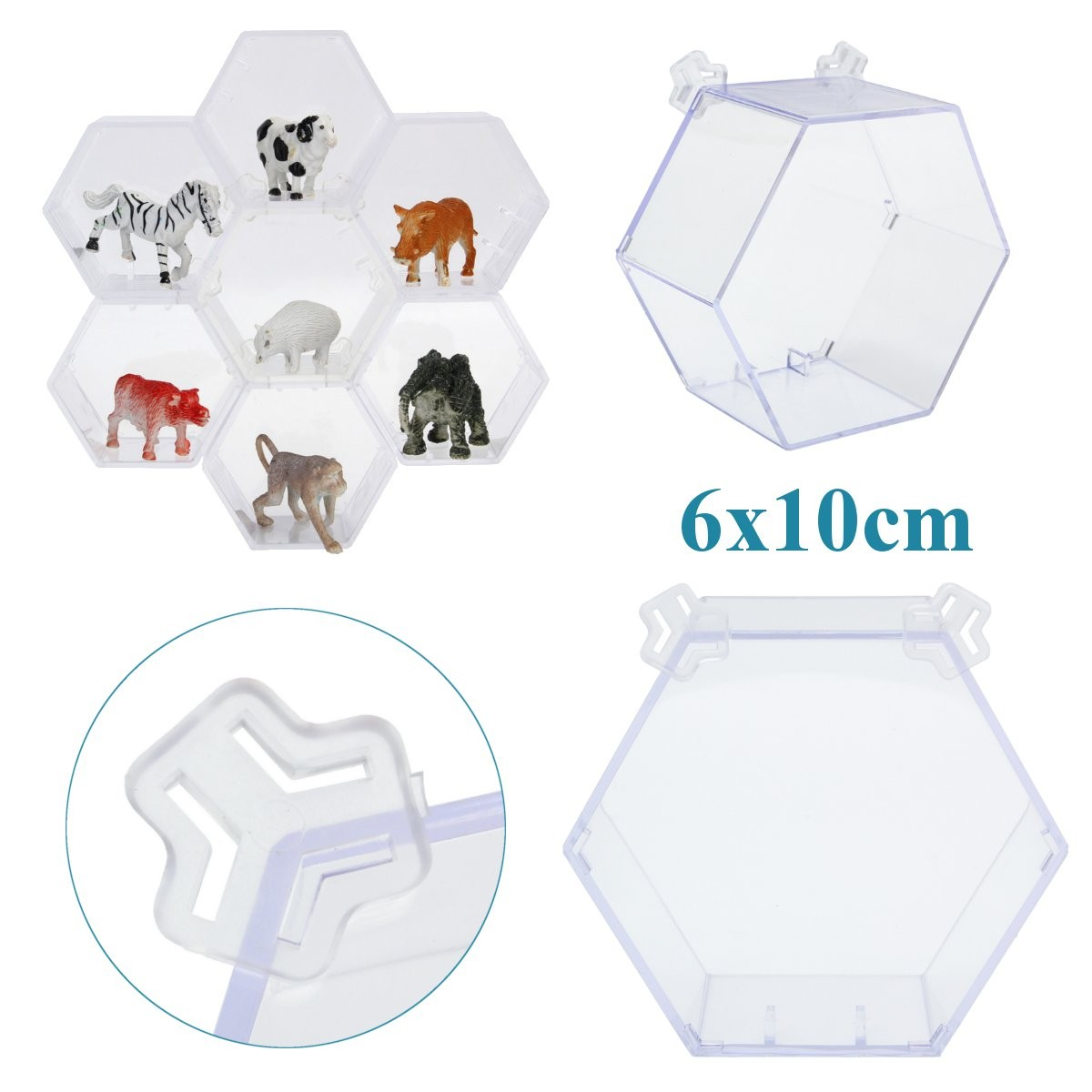Display Jewelry Case Box Acrylic Hexagonal Perspex Dustproof Show Case For Action Figuer 6cmx5.3cmx10cm(China (Mainland))