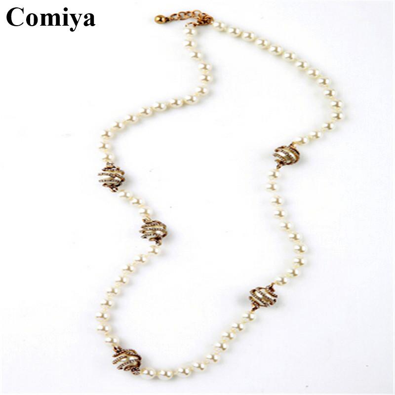 Aliexpress.com Comprar Comiya moda vidrio imitación perla piedras collares largos para mujeres accesorios de la joyería bisuteria mujer collar venta al por