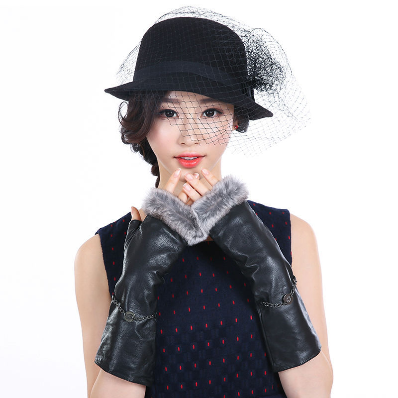 Fashion Brand Italian Women Opera Gloves Genuine Lambskin Leather Rex Rabbit Fur Lady Female Long Gloves with G Chain(China (Mainland))