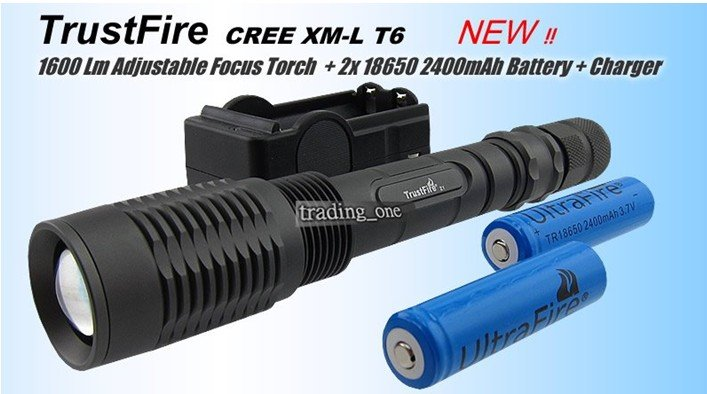 Free ship Hot sell TrustFire 1600Lm CREE XM-L T6 LED Zoom Zoomable Flashlight Torch +18650 SET 2x 18650 2400mah battery charger(China (Mainland))