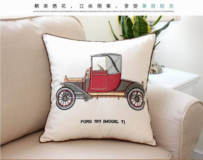 Embroidered Classic Home Decorative Sofa Cushion Cover Cotton Linen Square Pillow Case Red Vintage car CTHW001 - Best Natures store