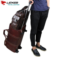 """Lexeb Brand Luggage Set Sale Genuine Leather Business Bag 15.6"""" Laptop High Quality Men's Shoulder Bags Handbags Brown Suitcase(China (Mainland))"""