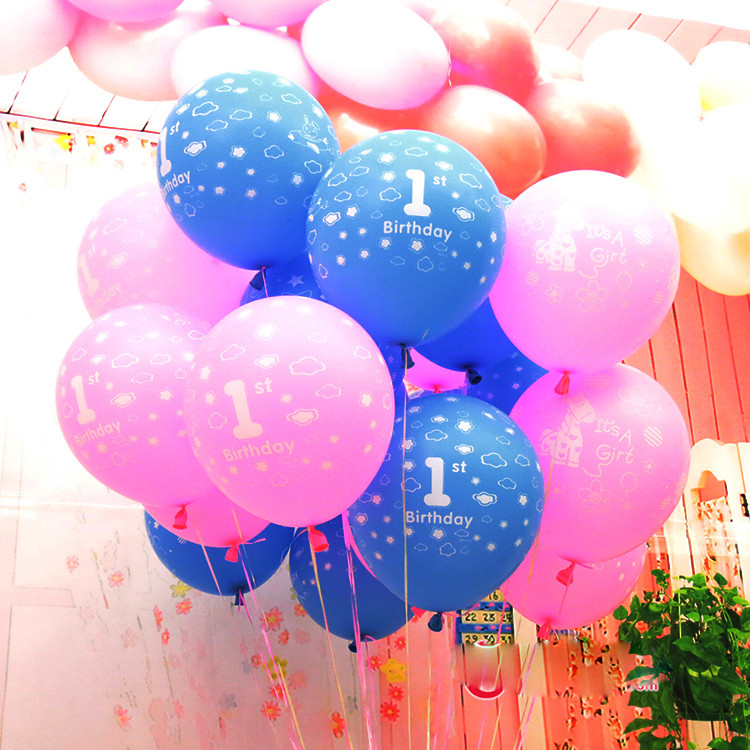 Blue pink 10pcs lot 12inch latex balloon for 1st birthday for Baby girl birthday decoration pictures