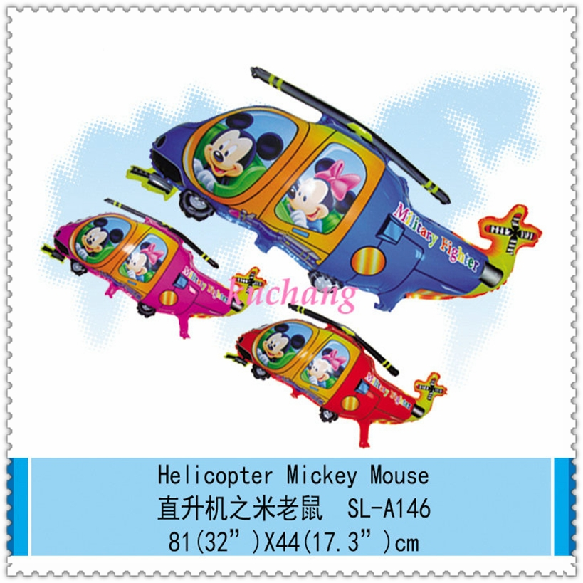 10pc 81*44cm Hot-salling!mickey minnie mouse helicopter balloon foil balloon for kids birthday gifts Plane balloon free shipping(China (Mainland))