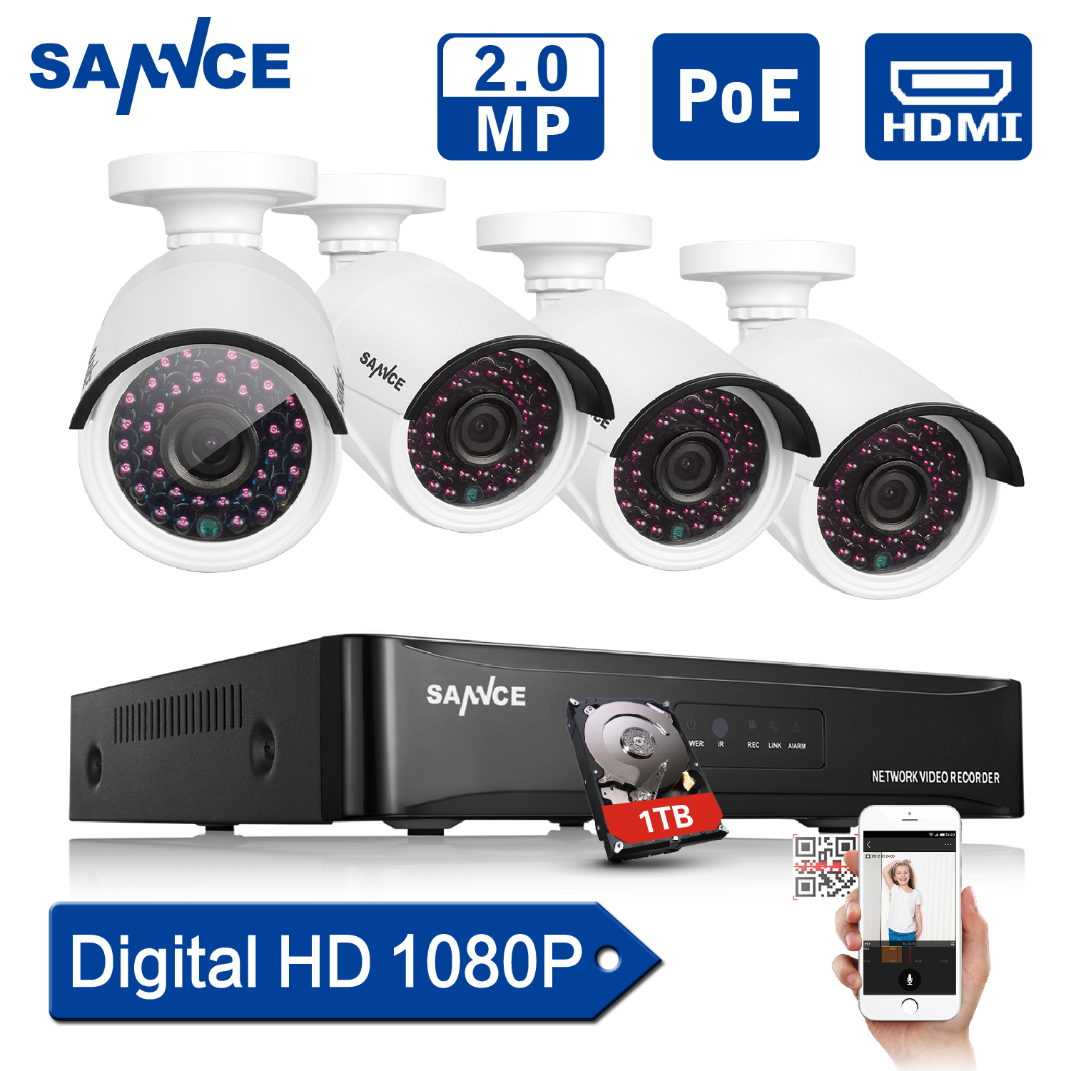 SANNCE 4CH 1080P HDMI P2P POE NVR Surveillance System Video Output 4PCS 3000TVL 2.0MP IP Camera Home Security CCTV Kits 1TB HDD(China (Mainland))