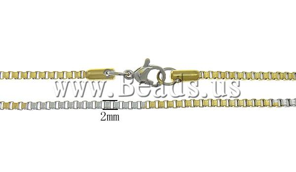 Free shipping!!!Necklace Chain,Promotion, Stainless Steel, stainless steel lobster clasp, old color plated, two-tone, 2mm