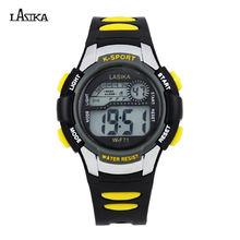 Sports Style Lasika Brand Multicolor Water Resistant Kids Student Alarm Watch Adult and Children Digital LED