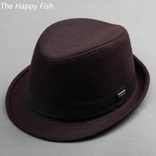 vintage fedora hat black fedora hats for men wool felt hat mens hats fedoras(China (Mainland))