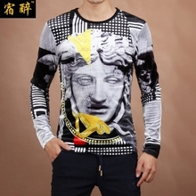 2015 Autumn&Winter new jacquard Medusa pattern slim long-sleeved t shirt Fashion casual gold velvet high-end t shirt men M-5XL