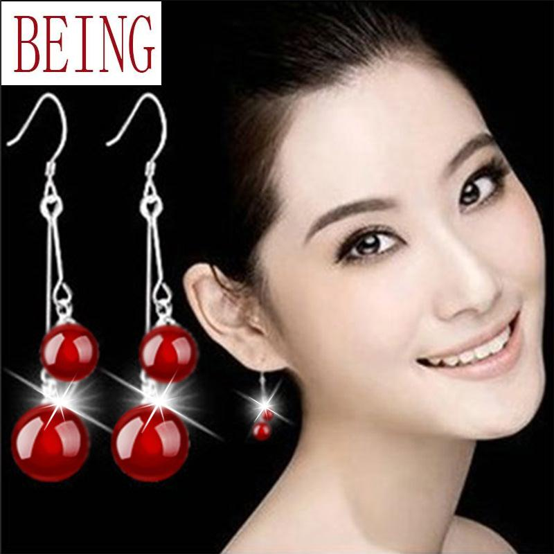 Hot new fashion women silver earrings natural black onyx crystal earrings red jewelry manufacturer wholesale(China (Mainland))