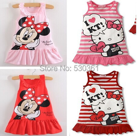 New 2015 Kids girls clothes cute cartoon Dress, 2 colors of red and pink nice Clothes, lovely baby girls dress(China (Mainland))