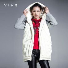 VING Winter Women Patchwork Thicken Down Coat Warm Hoodies Medium-long 90% White Duck Down Coat Parka Women Down Jacket(China (Mainland))