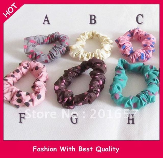 Wholesale and Retail new arrival freeshipping colorful dot design Elastic hair band hair organment 24pcs/lot