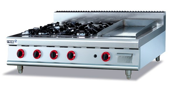 Counter Top commericial Gas Stove multi-cooker gas cooktop,stainless steel gas range (4-Burners) and Griddle,factory sale(China (Mainland))