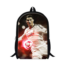 3D Cristiano Ronaldo Printed Mens Travel Backpack For Sports Fans Children School Bag Cartoon Hero Book Bag For Teenager Boys