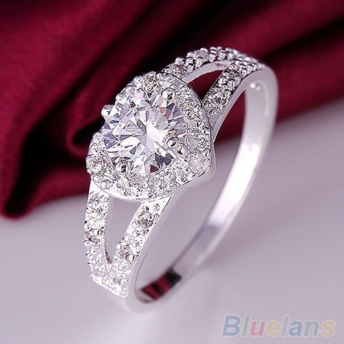 High Quality Women Chic Silver Plated Crystal Heart Shaped Love Wedding Ring Size 8 Bridal Jewelry AC88
