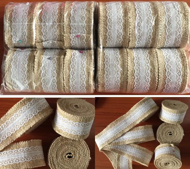 Buy 5 meters natural jute burlap ribbon for Rustic home decor suppliers