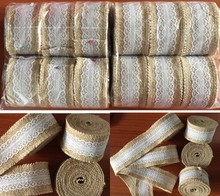 5 meters Natural Jute Burlap Ribbon Lace Trims for Hessian Rustic vintage Wedding table runner chair Decor home crafts wrap(China (Mainland))