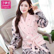 Pajamas,robe sleepwear,autumn and winter thickening,long-sleeve,flannel,bathrobe women's coral fleece lovers lounge(China (Mainland))