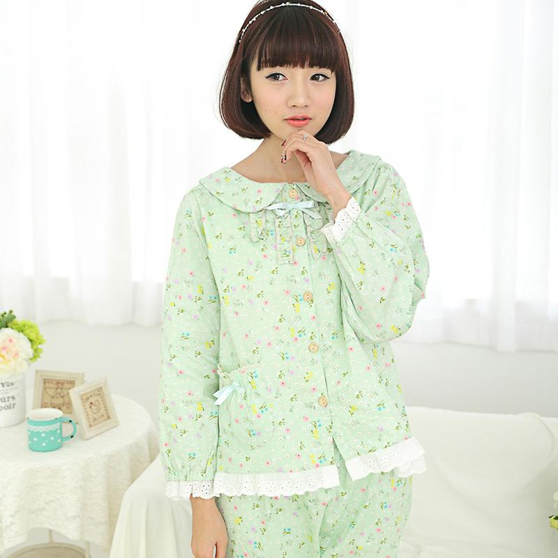 zkc uncle M-xL women spring family pajama sets light green floral o neck long-sleeved pants with one pocket,ty8643(China (Mainland))