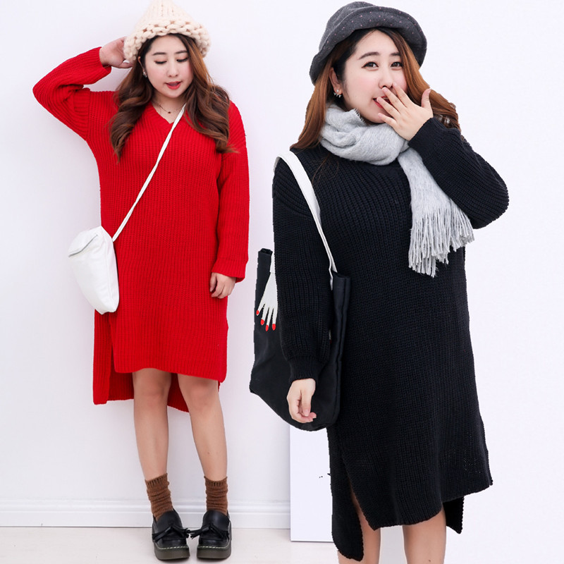 2015 Winter XXL Irregular Women Sweater Plus Size Solid Black and Red Side Split Women Pullover Casual Loose Long Sweater Dress(China (Mainland))