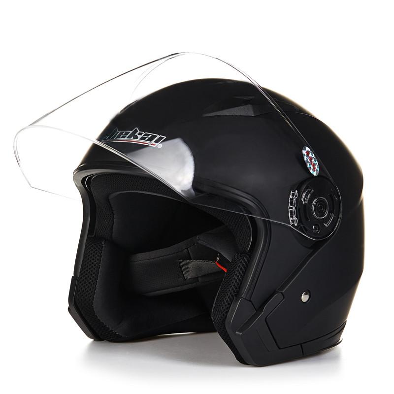 Купить Шлем мотоцикла открытым лицом capacete para motocicleta cascos para moto racing Jiekai мотоцикл старинные шлемы с двумя объективами