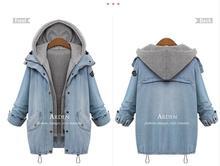 Hot Sale 2015 Autumn Women Casual Two Piece Hoodied Jean Coat Plus Size Thick Windbreaker Outwear Coat A82180