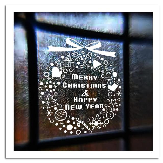Рождественские декор DTY снежинки кольцо стены термоаппликации съемный искусство пластиковые окна домашнего декора фестиваль XMAS04