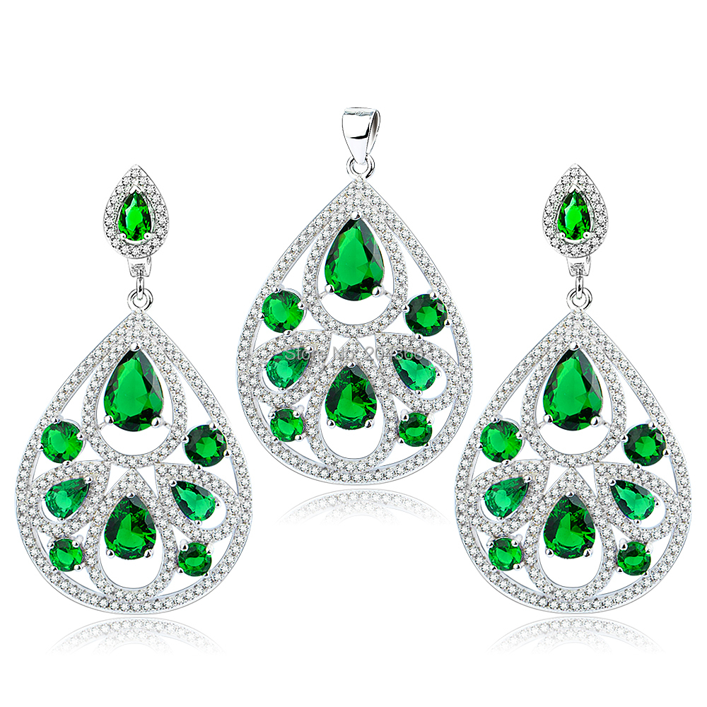TZ0130 Genuine 925 Sterling Silver Jewelry Set Fashion Wedding Jewelry Green CZ Pendant and Earrings Set for Women Free Shipping<br><br>Aliexpress