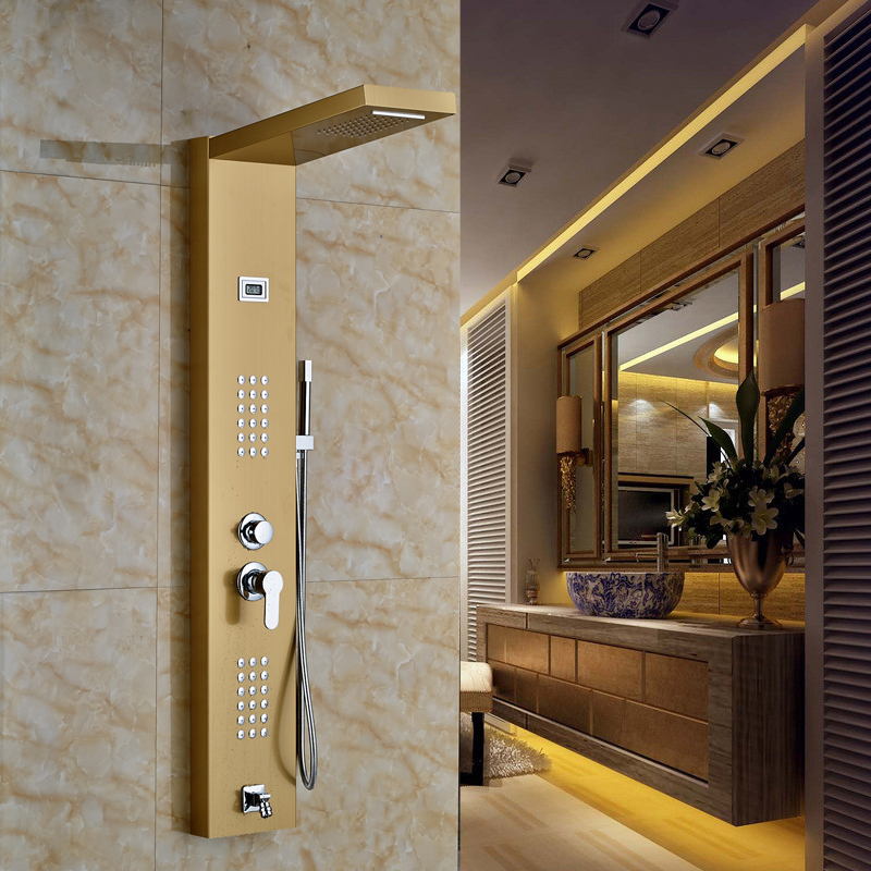 Gold Finished Bathroom Shower Set Shower Column With 2-water Rectangle Shower Head(China (Mainland))