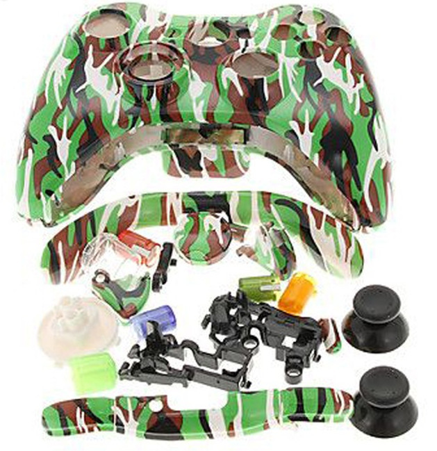 New ABS Polished Chrome Gold camouflage Full Housing Shell Case Button Kit for xbox360 Xbox 360 Wireless Controller repair Parts(China (Mainland))