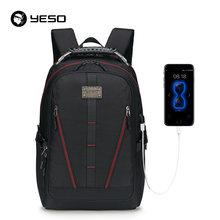 YESO Homens Mochila Grande Capacidade de Carregamento USB Multifunction Oxford Saco de Viagem Mochilas Laptop Para Mulheres Homens Adolescente À Prova D' Água(China)