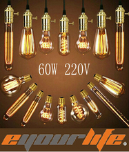 Vintage Edison Bulb Lamp 220v 60w E27 Incandescent Light Bulbs For Decoration Of Room ST64/A19/G80/G95/G125/T30/T45 edison bulbs(China (Mainland))