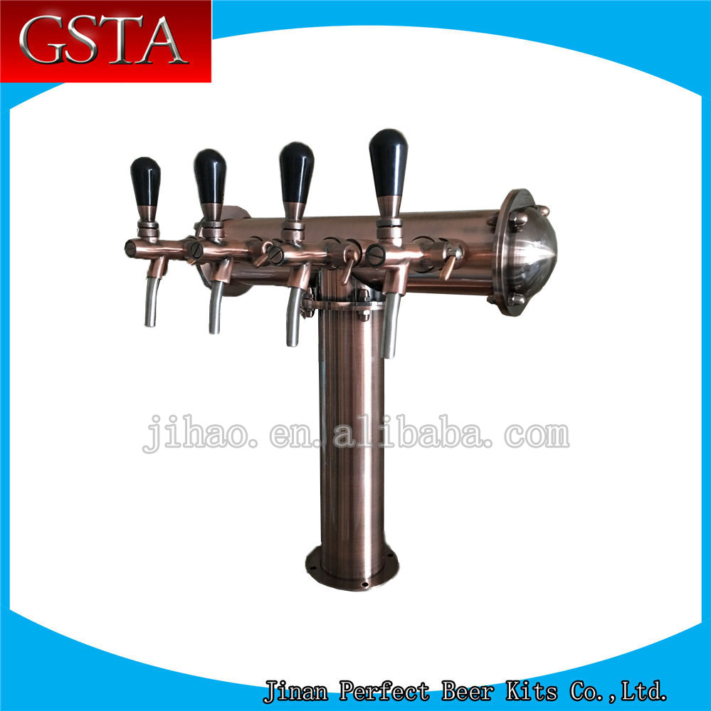 high quality T type 4 taps bronze brass beer column accessories(China (Mainland))