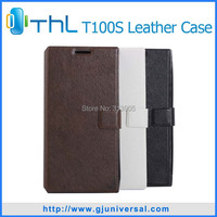 Free shipping 2014 Newest!!  Protective Leather case for THL T100S phone case for smart phone THL T100 T100S  black white brown