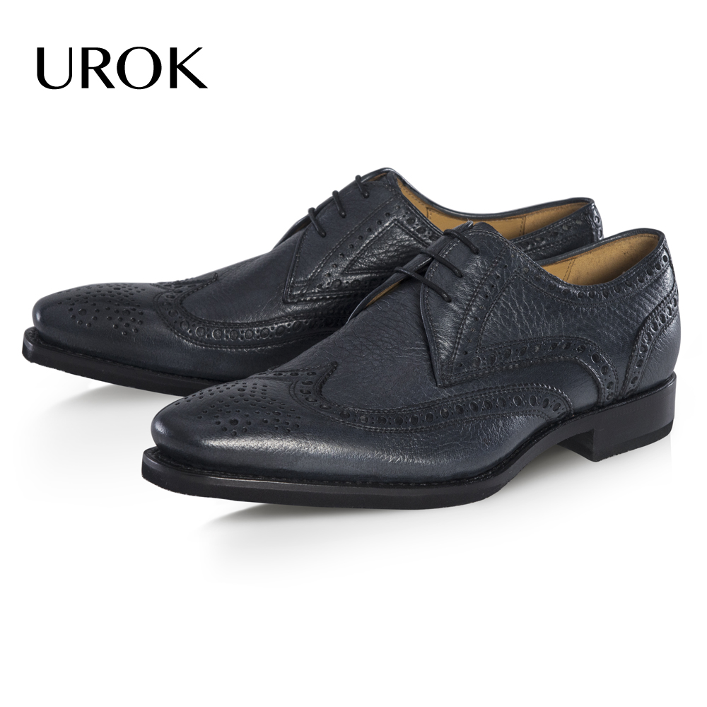 UROK Men Moccasin Derby Shoes Genuine Leather Plain Square Toe Flats Brogue Solid Lace-up Luxury Deer Wedding Men Dress Shoes(China (Mainland))