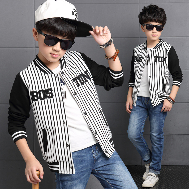 L Q SOONG Brands 2016 spring autumn fashion tide boys sports jacket striped baseball uniform for children jacket clothes cotton(China (Mainland))