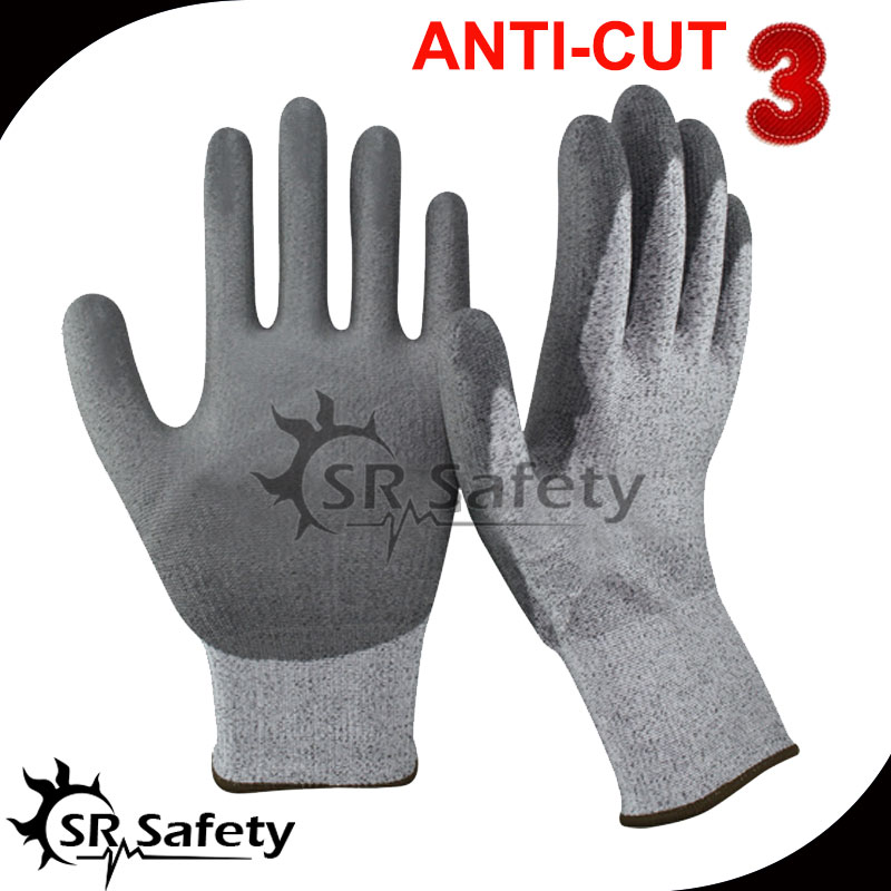 Free Shipping !!! SRSAFETY cut resistant pu dipping glove,cut Level 3(China (Mainland))