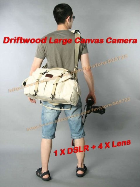 EMS Free Shipping Professional Driftwood Large Canvas Camera Shoulder Bag for Canon Nikon Sony with 2 DSLR + 3-4 Lens 109019