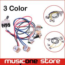 1 set Wiring Harness Prewired 2v2t 3 way Toggle Switch Jack 500k Pots for Gibson Replacement Guitar Free shipping(China (Mainland))