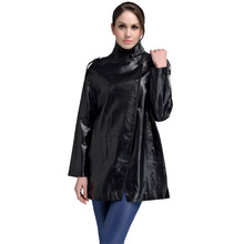 2016Spring Real Black Natural Leather Suede Jacket Women Girls Sheepskin Windproof Cycling Jackets Parka China X-Long 5XL NKN14(China (Mainland))