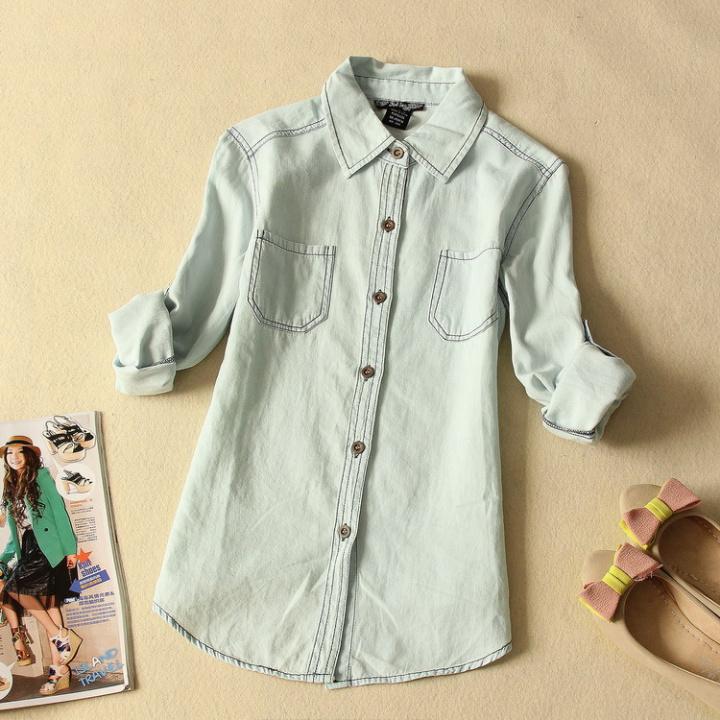 Women fashion light blue denim shirt with lace back ladies for Ladies light denim shirt