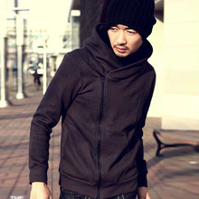 Factory Price! Mens Hooded Hoodie Oblique Zipper Jacket Cotton Coat Pullover M-XXL(China (Mainland))