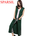 Sparsil Women s Spring Autumn Sleeveless Long Cardigan With Pocket Cashmere Blend Knitted Fashion Split Style