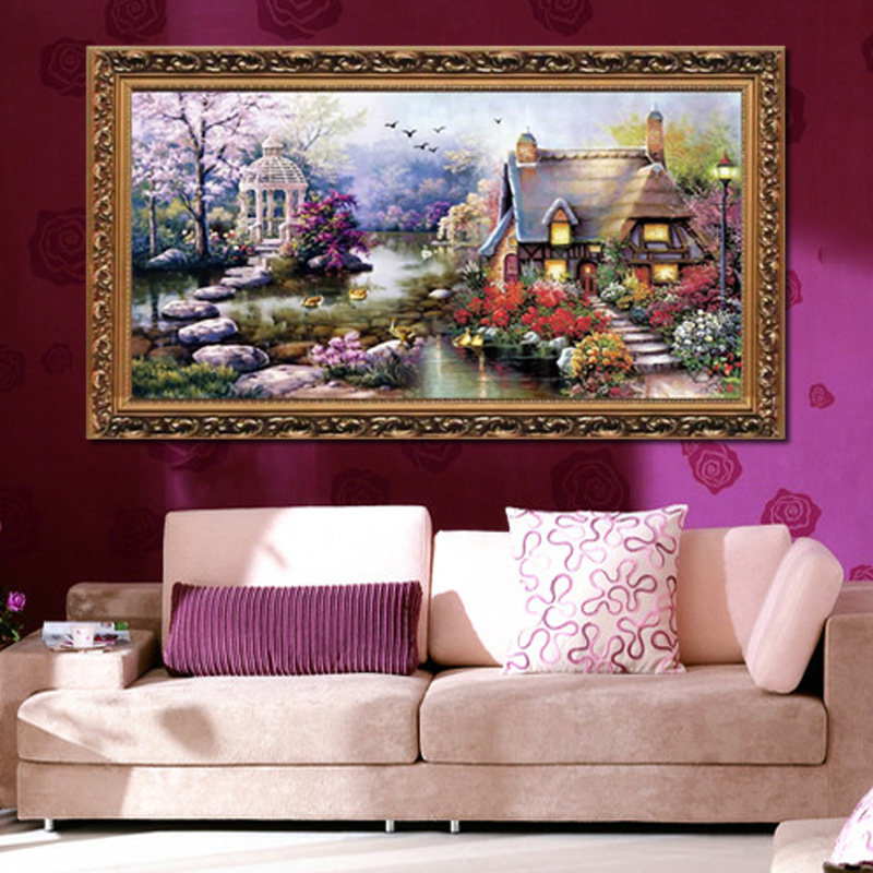 68*38 Needlework,DIY DMC Cross stitch,Sets For Embroidery kits, Garden Cottage Patterns Counted Cross-Stitching,Wall Home Decro(China (Mainland))