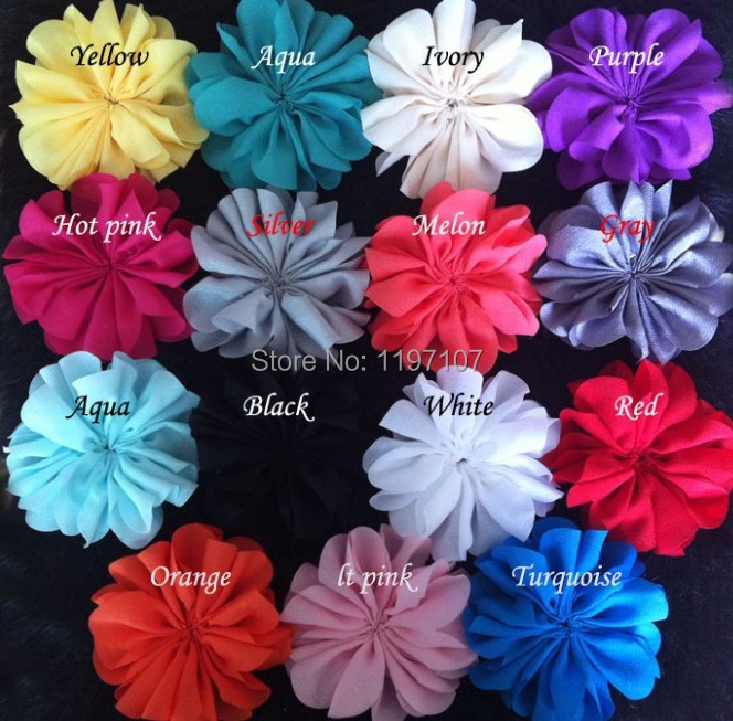 Free shipping,50pcs/LOT,3.2'' Chiffon Fabric Flowers For Headbands,Hair Bows Kid Accessories Ballerina Flowers Unfinished YZ006(China (Mainland))