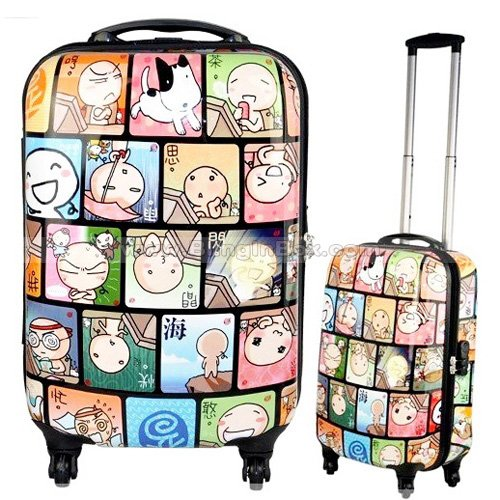 24inch cartoon world ABS+PC fashion 360 degree spinner wheels/swivel wheels cute trolley luggage ,traveller suitcase,Box
