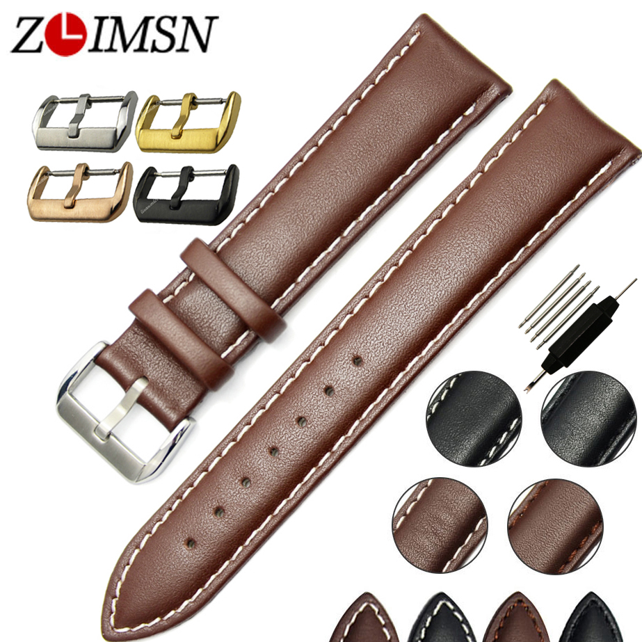 ZLIMSN Smooth Watchbands Soft 100% Brown Black Genuine Leather Watch Band strap Stainless Steel Metal Buckle relogio masculino(China (Mainland))