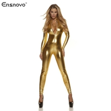 Ensnovo Women Spandex Lycra Nylon One Piece Shiny Metallic Catsuit Long Sleeve Zipper Front  Bodysuit Skin Tight Suits Costume
