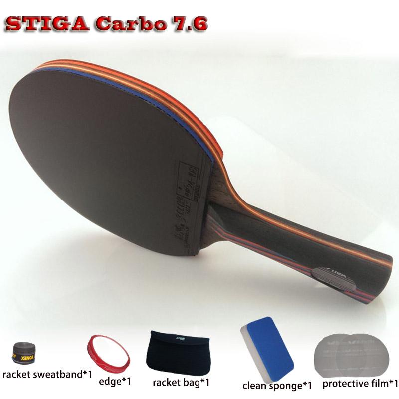 STIGA Table tennis racket pat set Red Black Carbon 7.6,rubber 05/64+Blue sponge Hurricane 3,ping pong paddle Free Drop Shipping(China (Mainland))